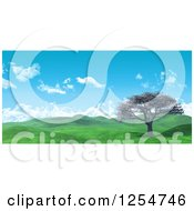 Clipart Of A 3d Widescreen Landscape With A Cherry Tree And Lush Green Hilly Valley Royalty Free Illustration