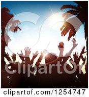 Clipart Of A Crowd Of Silhouetted Dancers With Palm Trees And Sunshine Royalty Free Vector Illustration by KJ Pargeter