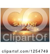 Clipart Of Summer Nights Text Over An Ocean Royalty Free Vector Illustration
