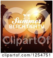 Clipart Of A Crowd Of Silhouetted Dancers With Palm Trees And Summer Beach Party Text Royalty Free Vector Illustration by KJ Pargeter