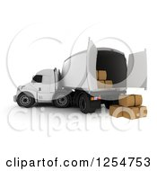Clipart Of A 3d Cargo Truck With Boxes Royalty Free Illustration