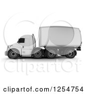 Clipart Of A 3d Side View Of A Big Rig Truck Royalty Free Illustration