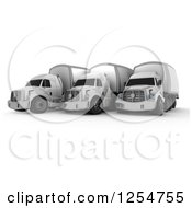 Clipart Of 3d Fleet Of Big Rig Trucks Royalty Free Illustration
