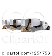 Clipart Of A 3d Cargo Truck Fleet With Boxes Royalty Free Illustration