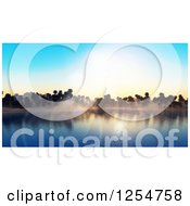 Clipart Of A 3d Island With Palm Trees And Sun Flares Royalty Free Illustration
