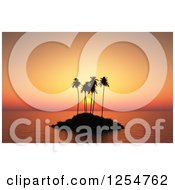 Clipart Of A 3d Silhouetted Palm Tree Island At Sunset Royalty Free Illustration
