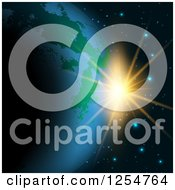Clipart Of A Fictional Planet Earth And Sunrise Royalty Free Vector Illustration