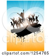 Clipart Of A Group Of Silhouetted Dancers Over Blue And Orange Rays And Flares Royalty Free Vector Illustration
