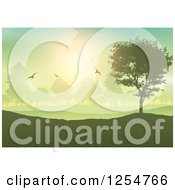 Clipart Of Silhouetted Birds And Trees In A Park Royalty Free Vector Illustration