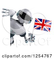 Clipart Of A 3d White And Blue Robot Holding A Union Jack Flag Around A Sign Royalty Free Illustration