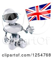 Clipart Of A 3d White And Blue Robot Holding A Union Jack Flag Royalty Free Illustration