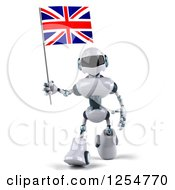 Clipart Of A 3d White And Blue Robot Walking With A Union Jack Flag Royalty Free Illustration