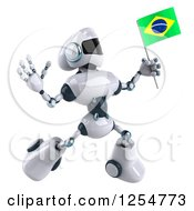Clipart Of A 3d White And Blue Robot Jumping With A Brazilian Flag Royalty Free Illustration