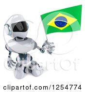 Clipart Of A 3d White And Blue Robot Holding A Brazilian Flag Royalty Free Illustration