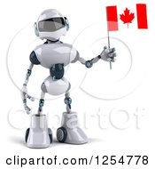Clipart Of A 3d White And Blue Robot Holding A Canadian Flag Royalty Free Illustration