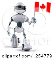 Clipart Of A 3d White And Blue Robot Walking With A Canadian Flag Royalty Free Illustration