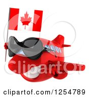 Clipart Of A 3d Happy Red Airplane Wearing Sunglasses And Flying With A Canadian Flag Royalty Free Illustration