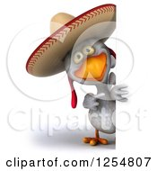 Clipart Of A 3d White Mexican Chicken Pointing Around A Sign Royalty Free Illustration by Julos
