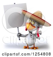 3d White Mexican Chicken Holding Up A Blank Sign