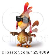 Clipart Of A 3d Walking Mexican Chicken Wearing Sunglasses And Pointing Royalty Free Illustration by Julos