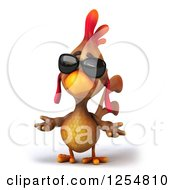 Clipart Of A 3d Walking Mexican Chicken Wearing Sunglasses And Shrugging Royalty Free Illustration by Julos