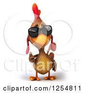 Clipart Of A 3d Walking Mexican Chicken Wearing Sunglasses And Holding A Thumb Up Royalty Free Illustration by Julos