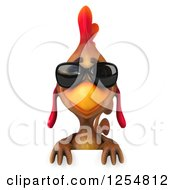 Clipart Of A 3d Walking Mexican Chicken Wearing Sunglasses Over A Sign Royalty Free Illustration by Julos