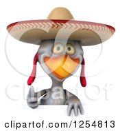 Clipart Of A 3d White Mexican Chicken Holding A Thumb Up Over A Sign Royalty Free Illustration by Julos