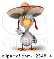 Clipart Of A 3d White Mexican Chicken Waving Royalty Free Illustration by Julos