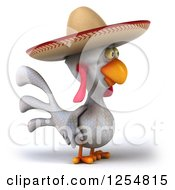 Clipart Of A 3d White Mexican Chicken Facing Right Royalty Free Illustration by Julos
