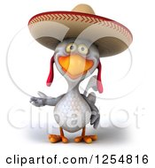 Clipart Of A 3d White Mexican Chicken Presenting Royalty Free Illustration by Julos