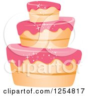 Clipart Of A Funky White Vanilla Cake With Sparkly Pink Frosting Royalty Free Vector Illustration