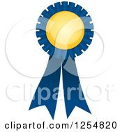 Clipart Of A Blue And Yellow Award Ribbon Royalty Free Vector Illustration