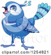 Cartoon Of A Cute Fancy Happy Bluebird Royalty Free Vector Clipart by Pushkin