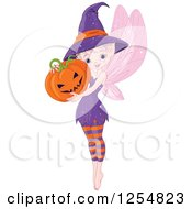 Cartoon Of A Cute Halloween Pixie Fairy Holding A Jackolantern Pumpkin Royalty Free Vector Clipart