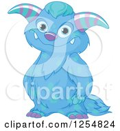 Cartoon Of A Cute Blue Monster Smiling Royalty Free Vector Clipart by Pushkin