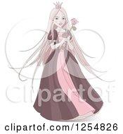 Pink Princess Holding A Rose