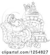 Cartoon Of Black And White Santa Relaxing In Front Of A Fireplace On Christmas Eve Royalty Free Vector Clipart by Alex Bannykh