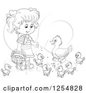 Cartoon Of A Black And White Girl Feeding Ducks Royalty Free Vector Clipart by Alex Bannykh