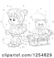 Cartoon Of A Black And White Boy Pulling A Teddy Bear On A Sleigh Royalty Free Vector Clipart