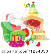 Cartoon Of Santa Relaxing In Front Of A Fireplace On Christmas Eve Royalty Free Vector Clipart by Alex Bannykh