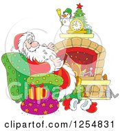 Cartoon Of Santa Claus Relaxing In Front Of A Fireplace On Christmas Eve Royalty Free Vector Clipart by Alex Bannykh