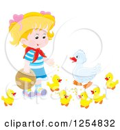 Cartoon Of A Blond White Girl Feeding Ducks Royalty Free Vector Clipart by Alex Bannykh