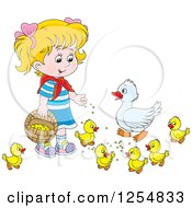 Cartoon Of A Blond Caucasian Girl Feeding Ducks Royalty Free Vector Clipart