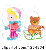 Cartoon Of A Blond White Boy Pulling A Teddy Bear On A Sleigh Royalty Free Vector Clipart by Alex Bannykh