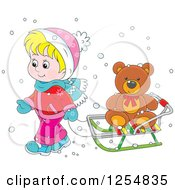 Blond Caucasian Boy Pulling A Teddy Bear On A Sleigh
