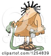 Clipart Of A Caveman Woman Carrying A Dead Snake Royalty Free Vector Illustration by Dennis Cox