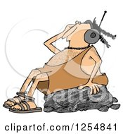 Clipart Of A Caveman Wearing Headphones And Rocking Out On A Boulder Royalty Free Illustration by djart