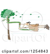 Caveman Holding Onto A Snake On A Tree In A Wind Storm