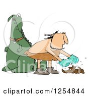 Clipart Of A Caveman Cleaning Up Dinosaur Poop Royalty Free Illustration by djart